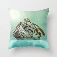 voyage Throw Pillows featuring The Voyage by Eric Fan