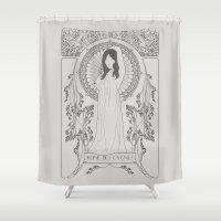 bjork Shower Curtains featuring Reine des Cygnes (Grey) by Florent Bodart / Speakerine