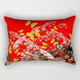 RED GARDEN ART OF YELLOW BUTTERFLIES & LACEY FLOWERS Rectangular Pillow