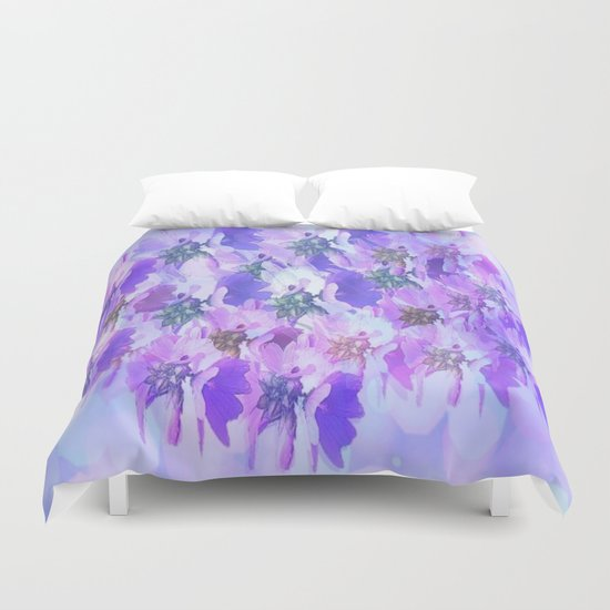 Painterly Glowing Floral Abstract Duvet Cover