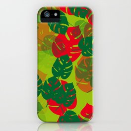 monstera green red iPhone Case