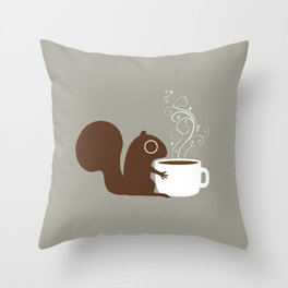 Squirrel Coffee Lover Throw Pillow