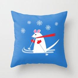 Christmas Mouse on Skis Throw Pillow