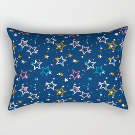 Night sky with colorful stars and dots on blue background Rectangular Pillow