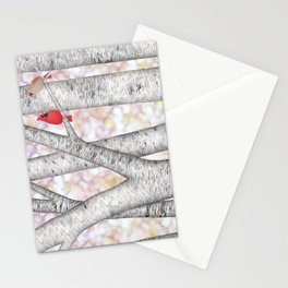 cardinals and birch trees Stationery Cards