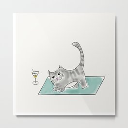 Downward Cat yoga pose Kitty cat with martini Metal Print