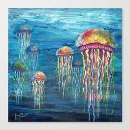Jelly Fish Fantasy Acrylic Flow Canvas Print