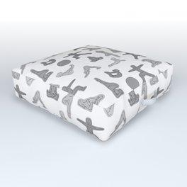 Grey Yoga Pattern Outdoor Floor Cushion