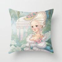 marie antoinette Throw Pillows featuring Marie-Antoinette by Pich illustration