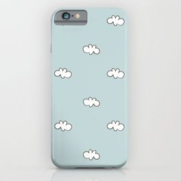 Blue background with small white clouds iPhone Case
