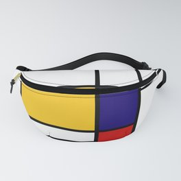 Primary Colors Geometric Pattern Fabric - Mondrian Fabric - Bauhaus Style Lines Home Decor Cotton Fanny Pack