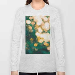 Green Turquoise Bokeh Blurred Lights Shimmer Shiny Dots Spots Circles Out Of Focus Long Sleeve T-shirt