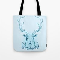 harry potter Tote Bags featuring Expecto Patronum- Harry Potter by Manfred Maroto
