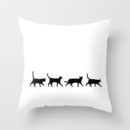 Kitty Conga Line Throw Pillow