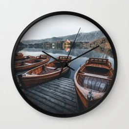 beautiful Boats at lake Bled in Slovenia Wall Clock