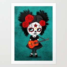 Day of the Dead Girl Playing Chinese Flag Guitar Art Print
