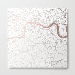 White on Rosegold London Street Map Metal Print