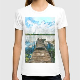 Old Wooden Jetty By Lake - Jetties Around The World T-shirt