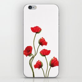 Poppies Flowers White background iPhone Skin