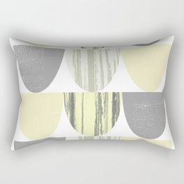 Yellow and Grey Geometric Abstract Scallop Pattern Rectangular Pillow