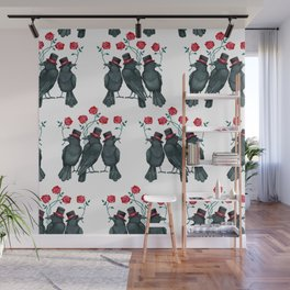 Roses and Ravens Red Pattern Wall Mural