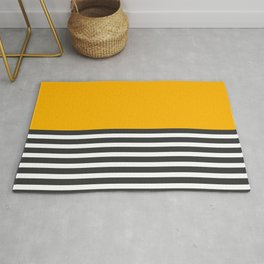 Half Striped Gray - Solid Yellow Rug