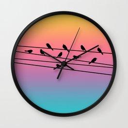 Birds on Power Lines Rainbow Sunset Gradient Wall Clock