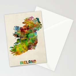 Ireland Eire Watercolor Map Stationery Cards