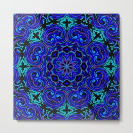 Bright Blue Kaleidoscope Metal Print