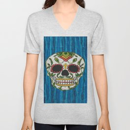 DAY OF THE DEAD - ICE BLUE VOODOO Unisex V-Neck