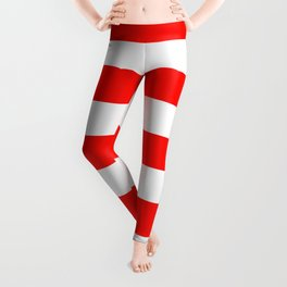 Candy apple red - solid color - white stripes pattern Leggings