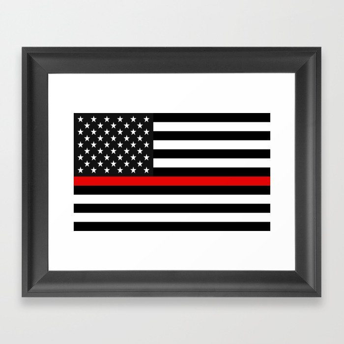 Red Line American Flag >> Thin Red Line American Flag Framed Art Print By Jerrylambert
