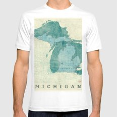 Michigan State Map Blue Vintage MEDIUM Mens Fitted Tee White