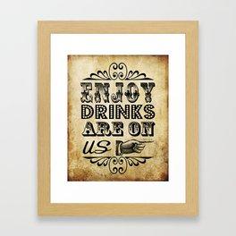Vintage Typography Antique Drinks Signage Framed Art Print