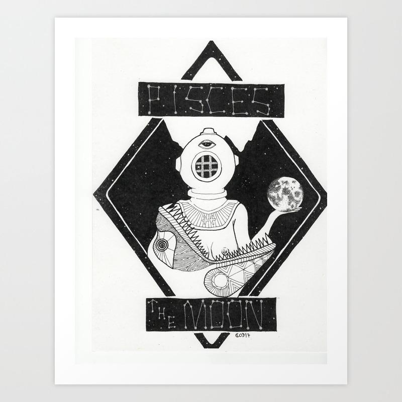 Pisces/The Moon Art Print