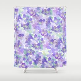 Hand Painted Watercolor Violet Lilac Lavender Green Floral Shower Curtain