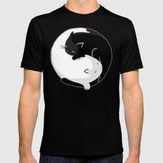 Yin Yang Cats Black MEDIUM Mens Fitted Tee