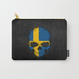 Flag of Sweden on a Chaotic Splatter Skull Carry-All Pouch