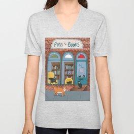 Puss n Books Shop Cats Unisex V-Neck