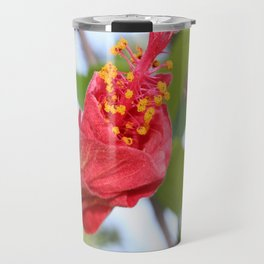 Curled Petals of A Red Hibiscus Bud Travel Mug