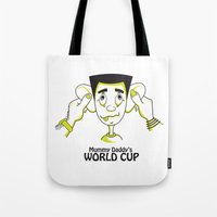 world cup Tote Bags featuring Mummy Daddy's World cup by Jyoti Khetan