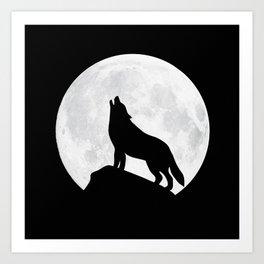 Howling Wolf - Moon Art Print