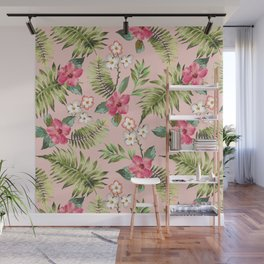 Hand draw tropical flowers and leaf Wall Mural