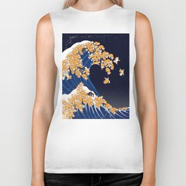 Shiba Inu The Great Wave in Night Biker Tank