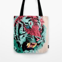 tiger Tote Bags featuring Tiger by Roland Banrevi