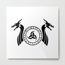 Norse Dragon - Triple Horn of Odin Metal Print