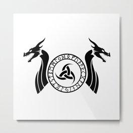 Norse Dragon - Triple Horn of Odin Metal Print