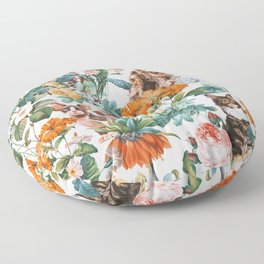 Cat and Floral Pattern III Floor Pillow