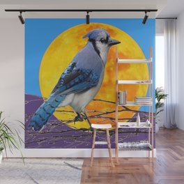 BLUE JAY & GOLDEN MOONSCAPE  ABSTRACT Wall Mural