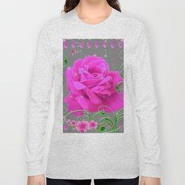 ROMANTIC CERISE PINK ROSE GREY ART RIBBONS Long Sleeve T-shirt